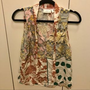Anthropologie multicolored printed blouse, SP